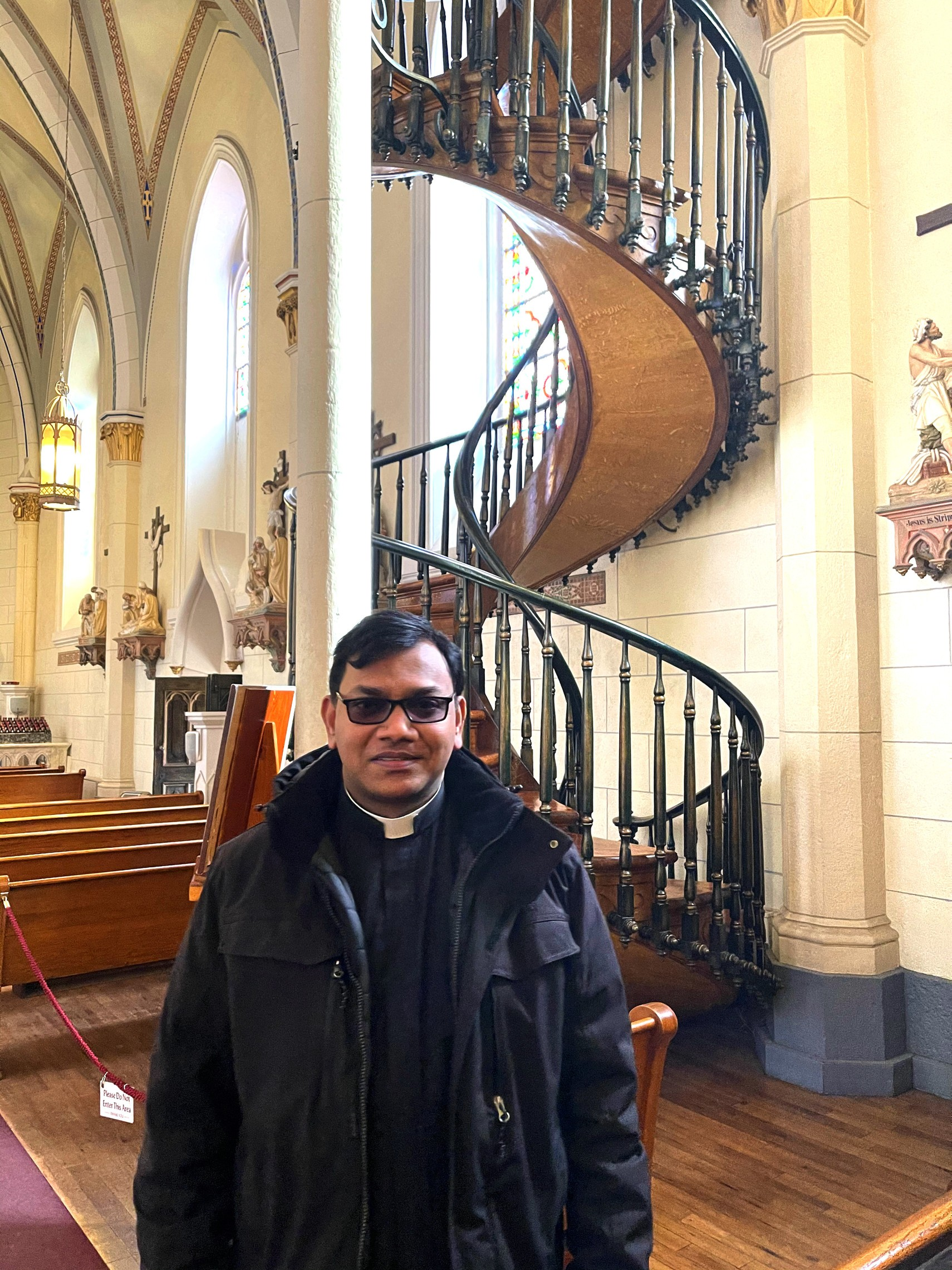 Fr Pasala and the St Joe Stairs